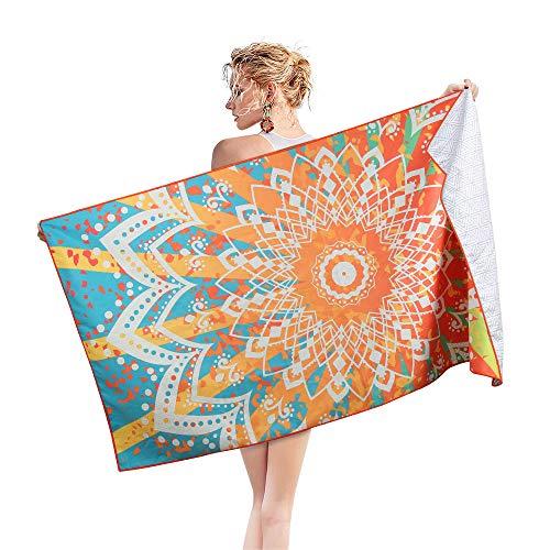 AtailorBird Telo Mare Grande Asciugamano da Spiaggia in Microfibra 180 * 90cm Bohemian Mandala Leggero Tasca Altamente Assorbente Asciugatura Rapid per Yoga, Piscina, Picnic e Bagno (Modello 4)