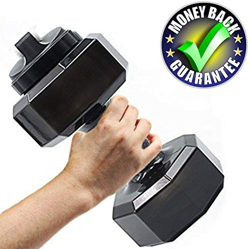 Upgrade Dumbbell Shaped Water Bottle   Big Capacity 75 Oz (2.2 L)  BPA Free   Flip Top Leak Proof lid   5 Colors(Black)