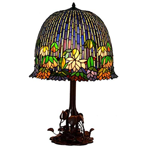 DSHBB Tiffany Style tafellamp, romantisch, bloempotten gestapeld glas licht, retro woonkamer, slaapkamer decoratie nachtlampje 40W