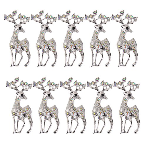10pcs Christmas Deer Flatback Embellishments with Colorful Rhinestone for Crafts