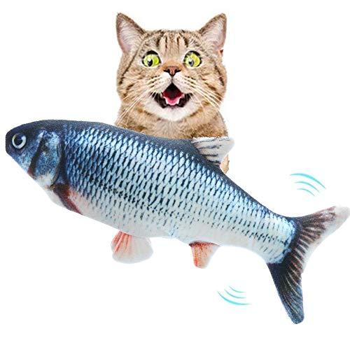 Mydee Katzenspielzeug Fisch Elektrisch USB Plüsch Fisch Kicker Katzenspielzeug mit Katzenminze für Katze und Kätzchen Interaktive Spielzeug Kissen zu Spielen, Beißen, Kauen und Treten (Karpfen)