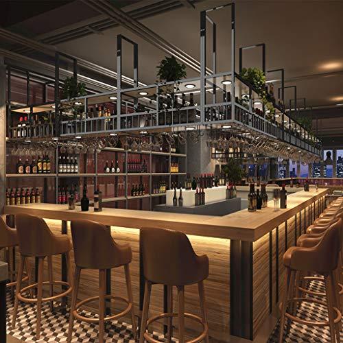 LIYANJJ Estante Industrial de 2 Niveles Estante de decoración de Techo Estante Vintage Bar Bebida Dispensador de Vino Vaso de Metal y Madera Vaso para Bar Club de Cocina Botelleros