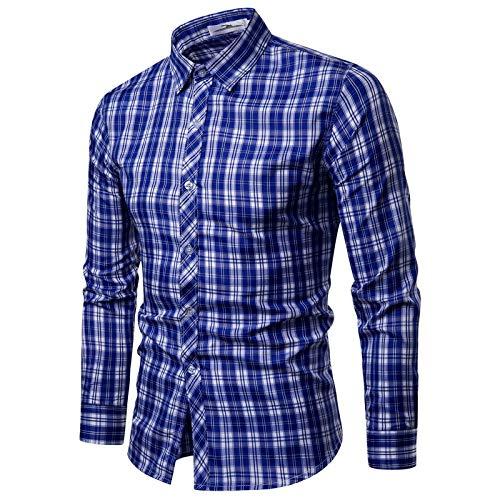 Camisas para Hombre Primavera y otoño Camisas a Cuadros Casuales clásicas Europeas y Americanas Camisas Ajustadas de Manga Larga a la Moda L