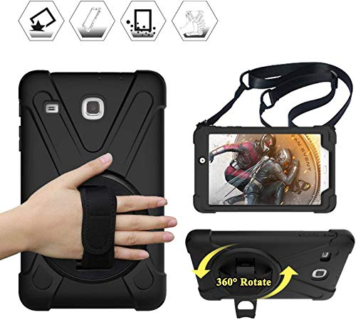 Samsung Galaxy Tab E 8.0 Case for Kids | TSQ T377 Case Heavy Duty Shockproof | Durable Rugged Protective Case w/ 360 Rotaing Stand Hand Strap Shoulder Strap for Samsung Tab E 8 Inch Tablet | Black