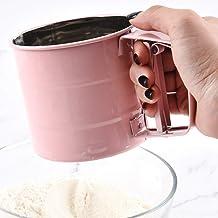 HELLOGIRL Tamiz de harina a presión manual Semiautomático De mano Acero inoxidable Forro de harina Tamiz de azúcar para hornear Tamiz de harina