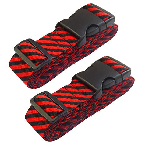 Lc.Courage Adjustable Luggage Straps/Travel Bag Strap/Suitcase Belts (Red/Black 2Pack)