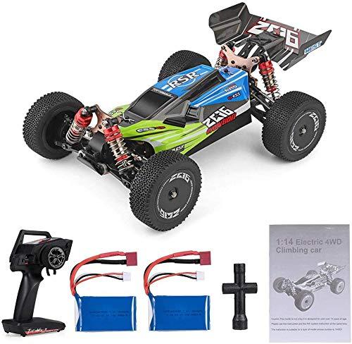 MODELTRONIC Coche RC Profesional Buggy Wltoys XKS 144001 tracción 4X4 Emisora 2.4Ghz Escala 1:14 Alta Velocidad de 60km/h con Motor 550 con BATERÍA Extra (Verde)