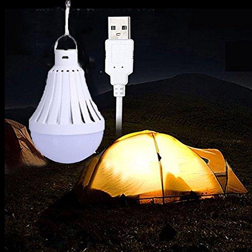 LEDMOMO - Bombilla USB para acampada, portátil, LED, luz nocturna, para casa, emergencia, al aire libre, almacén, senderismo, 9 W (6500 K)