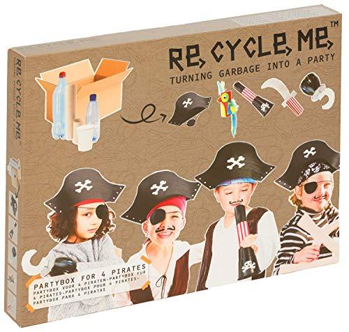 Re Cycle Me DEFG1420 Recycling Bastelspaß Partybox Piraten, Bastelset für 5 Modelle, Kreativset für Kinder ab 4 Jahre, Set zum Basteln mit Haushaltsmaterialien, Recycle Mich, Bastelmix
