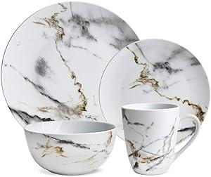 Hoomeet White Marble Design 16-Piece Dinnerware Set, Service for 4.