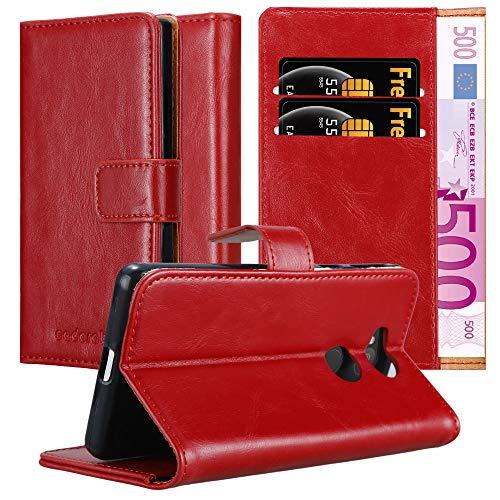 Cadorabo Hülle für Sony Xperia L2 in Wein ROT – Handyhülle mit Magnetverschluss, Standfunktion & Kartenfach – Hülle Cover Schutzhülle Etui Tasche Book Klapp Style