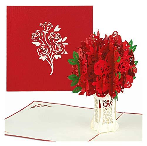 Rote Rosen Pop Up Valentines Day Card - 3D Happy Jubiläum, Blumenstrauß Pop Up Muttertagskarte, alles Gute zum Geburtstag, Engagement - Falten flach für Mailing - für Mama, für Tochter, für Frau