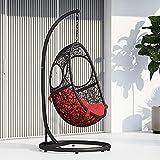 Zuri Furniture Modern Malaga Black Basket Swing Chair Red Cushion with Stand