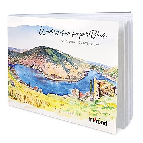 int!rend Aquarellpapier, 300 g, DIN A6, 60 Blatt, Weiß, Papier Block geleimt, Aquarellblock, Watercolour Paper Pad, inklusive einem Wassertankpinsel, Malblock für Aquarell, Acryl, Zeichnen, Malen