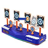 TECBOSS Digital Targets for Nerf Guns, Electronic Scoring & 3 Shot Timers in 2 Screens with Countdown Sound, Light Up & Bottom RGB Light Stripe, 4 Auto Reset Shooting Targets for Kids 6+