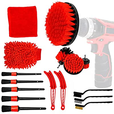 EVBOYS 16 Pcs Car Detailing Kit for Cleaning Wheels, Tires, Rims Drill Brush Wire Brush Automotive Air Conditioner Brush Car Wash Supplies, Auto Detailing Brush Kit Interior, Exterior