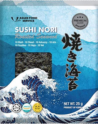 Asian Food Service Alga Nori, Hoja Completa 25 g - Lot de 4