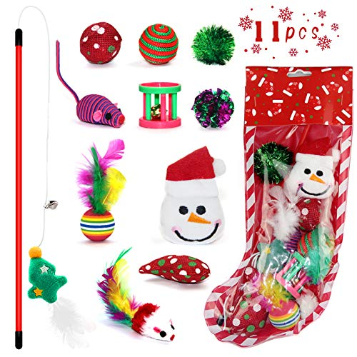 Christmas Cat Toys Stocking, 11PCS Interactive Christmas Cat Toys for Indoor Cats, Assorted Christmas Stocking Kitten Toys Gift Set with Cat Teaser Wand, Catnip Fish, Ball, Plush Toys and Mice Toys