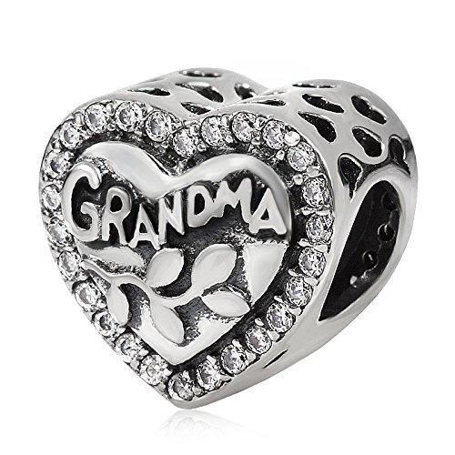 Love Grandma Charm 925 Sterling Silver Heart Beads fit Woman Charm Bracelets