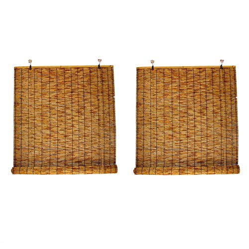 DBXOKK Reed Curtain Bamboo Shade, Light Filtering Curtain, Fresh Shutters, Indoor and Outdoor Use, for Outdoor Patio Balcony Pergola Breathable, Customizable, 2pcs(85x130cm/34x52in)