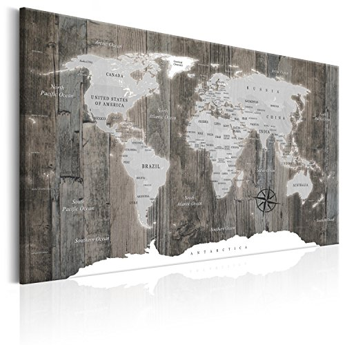 B&D XXL murando Impression sur Toile intissee 90x60 cm 1 Piece Tableau Tableaux Decoration Murale Photo Image Artistique Photographie Graphique Poster Carte du Monde Monde k-C-0050-b-c