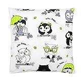 TupTam Kinder Kissenbezug Dekorativ Gemustert, Farbe: Eulen Weiß/Grün, Größe: 40 x 40 cm