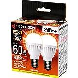 アイリスオーヤマ LED電球 口金直径17mm 60W形相当 電球色 広配光タイプ 2個パック 密閉形器具対応 LDA8L-G-E17-6T42P