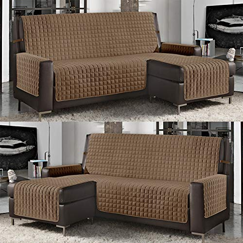 Banzaii Funda de Sofá Cubre Chaise Longue Acolchada Lisa 4 Plazas (290 cm) con Chaise Longue Izquierda/Derecha Cuerda
