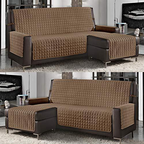 Banzaii Funda de Sofá Cubre Chaise Longue Acolchada Lisa 3 Plazas (240 cm) con Chaise Longue Izquierda/Derecha Cuerda