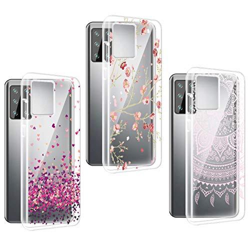 PZEMIN für 3 Stück Hülle Hafury GT20 Handyhülle Silikon Gummi Clear Schale Transparent Durchsichtig TPU Bumper Schutzhülle, Pflaumenblüte + Liebe + Pfirsichblüte