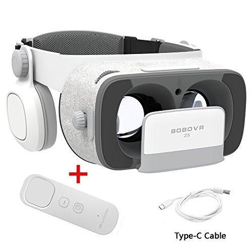 Verbesserte Version BOBOVR Z5 3D Daydream View VR Headset mit Gyroskop Controller 720°Surround Stereo FOV120 IPD Fokus einstellbar Virtual Reality Headset mit Kopfhörer für 4.7~6.2/120°FOV Zoll