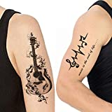 Voorkoms Temporary Tattoo Waterproof For Girls Men Women Beautiful & Popular Water Transfer Music Beat Guitar Size 10.5 CM x 6CM - 1PC