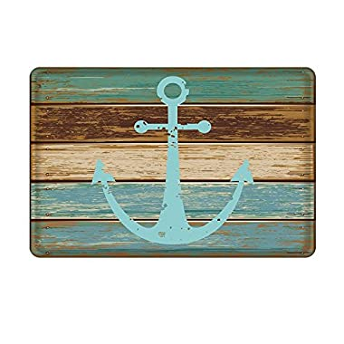 Bathroom Rug, Uphome Vintage Retro Nautical Anchor Flannel Microfiber Foam Bath Mat - Turquoise and Brown Non-slip Soft Absorbent Bathroom Mat Kitchen Floor Carpet (20 W x 31 L)