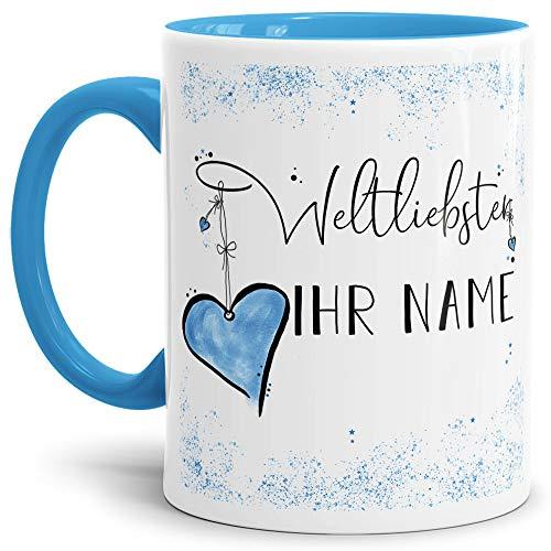 Tasse mit Spruch für den Weltliebsten -Name- Personalisierbar/Individuell/Familie/Geschenk-Idee/Innen & Henkel Hellblau