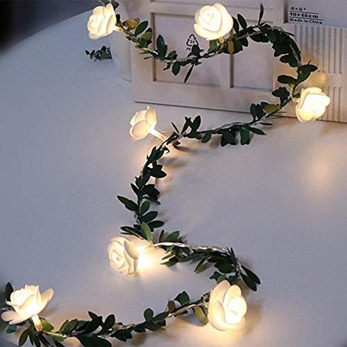 Rose LED Vine String Led-lichtsnoer, groene bladeren, batterij/USB/zonne-energie 3 m 5 m 10 m warmwit licht, 4,5 m 30 LED, USB