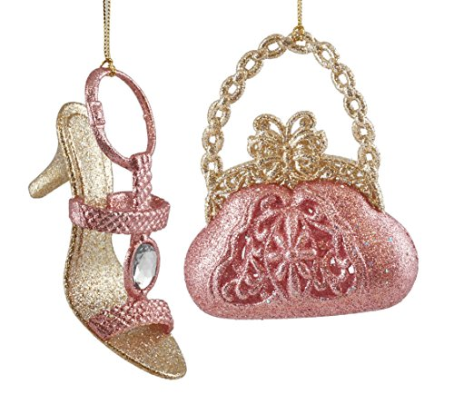 Caffco Sparkling Butterfly Purse & Jeweled Heel Hanging Christmas Ornament Set