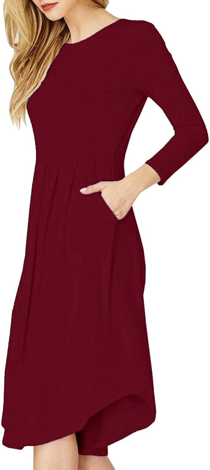 Imysty Womens Casual 3 4 Sleeve Dresses Crew Neck Swing Midi Dress with Pockets