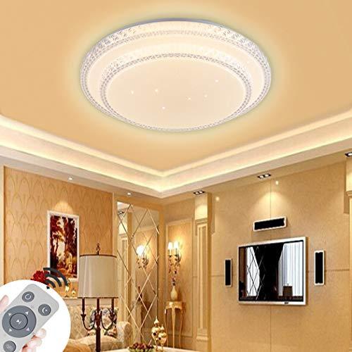 DIWIWON 48W LED Deckenleuchte Runde Dimmbar 3000K-6500K Modern (Kristalldiamanteffekt) Deckenlampe Mit Fernbedienung für Schlafzimmer Wohnzimmer Hall Arbeitszimmer Lampe (48W Double-Round Dimmbar)