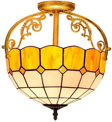 Lámpara de techo, luz de baño Lámpara de techo de vidrio de jardín retro, lámpara de techo, 30 cm arte clásico de vidrio colgante de techo de 12 pulgadas Retro iluminación interior para la cocina del