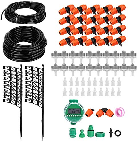rouroumaoyi Drip Irrigation Kit, 20m Garden Irrigation Timer Hose Connector Watering Tool Kit for Home Office Garden Greenhouse Watering Use