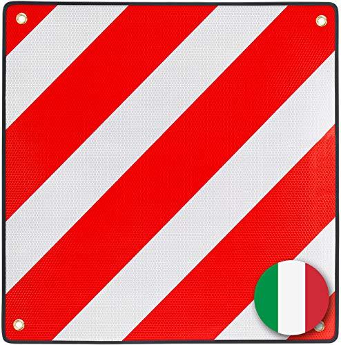 PLANGER®- Warntafel Italien und Spanien 2in1 (50 x 50 cm) - Reflektierendes Warnschild rot weiß für Heckträger u Fahrradträger (Warntafel + Tasche)