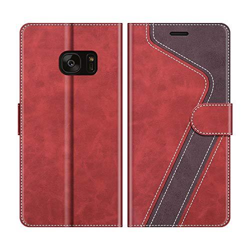 MOBESV Handyhülle für Samsung Galaxy S7 Edge Hülle Leder, Samsung Galaxy S7 Edge Klapphülle Handytasche Case für Samsung Galaxy S7 Edge Handy Hüllen, Modisch Rot