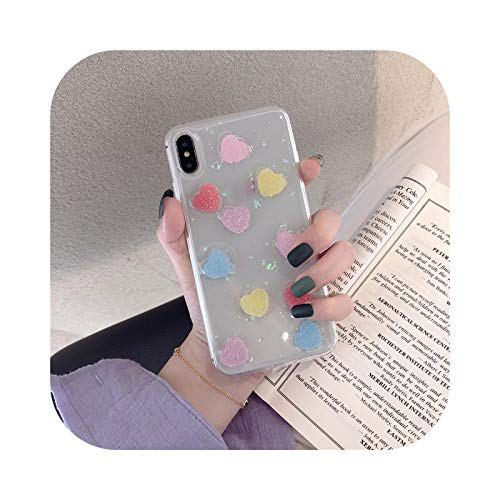 Fun-boutique - Carcasa para iPhone 7, diseño de corazón con texto 'Candy Love Coeur Clear para iPhone 7 XS Max XR X 8 6 6S Plus Bling Brillante TPU Tapa trasera suave – Estilo 1 para iPhone 6 6S