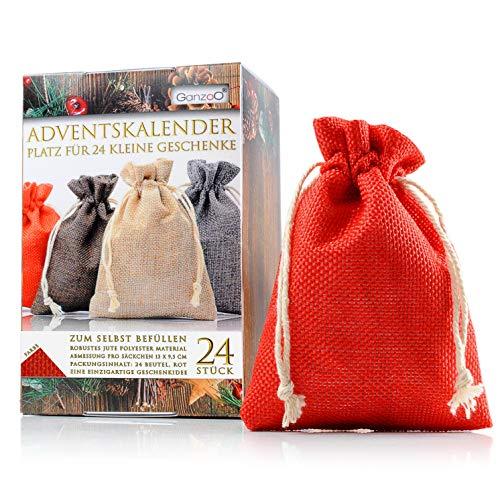 Ganzoo Jutesäckchen | Jute-Beutel | Jute-Sack 24er Set für Adventskalender mit Geschenk-Verpackung, 13cm x 9,5cm, Jutebeutel, Stoffbeutel, Natur Säckchen, Geschenksäckchen, Sack, Beutel, Farbe Rot