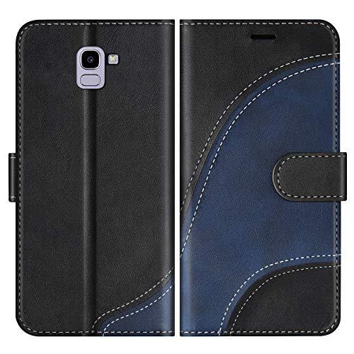 BoxTii Coque pour Galaxy J6 2018, Portefeuille Etui en Cuir PU, Magnétique Protection Housse Coque pour Samsung Galaxy J6 2018, Noir