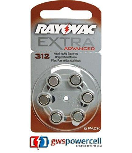 Rayovac - 6 batterie per apparecchi acustici n. 312 Zink Air Extra Advanced 180 mAh – blister da 6 pezzi (n. 312 Extra Advanced blister da 6 pezzi