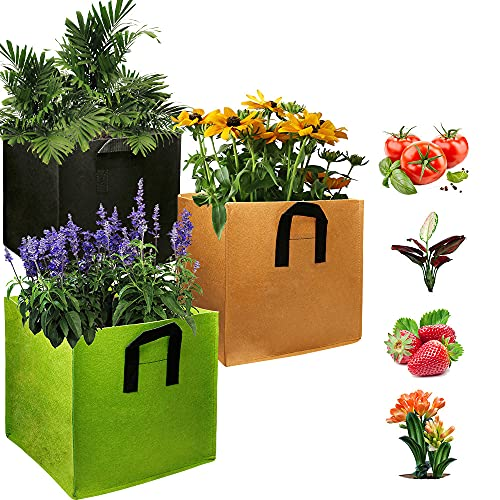 EIIORPO Plant Bags 3 Pack Colorful Mix ,Durable Grow Bags 3/5/7/10/20 Gallon Nonwoven Aeration Fabric Pots with Handles,Square Grow Containers for Vegetable/Flower/Nursery. (3-Pack-3 Gallon)