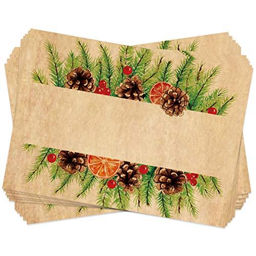 Logbuch-Verlag - 25 etiquetas de regalo navideñas para regalos, etiquetas de dirección, Navidad, papel de estraza, color blanco, marrón, natural, 7 x 5 cm