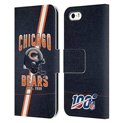 Head Case Designs Licenza Ufficiale NFL Strisce Football 100esimo Chicago Bears Logo Art Cover in Pelle a Portafoglio Compatibile con Apple iPhone 5 / iPhone 5s / iPhone SE 2016