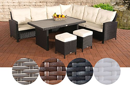 CLP VILATO garden set consisting of: 1 corner sofa, 2 stools and 1 lounge table I seating group with 9 seats, garden furniture set made of poly rattan Modern Black